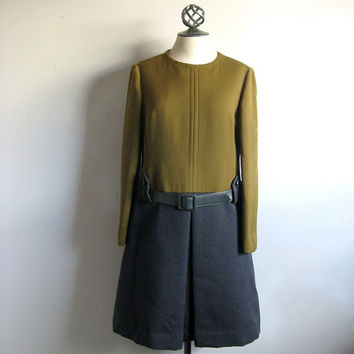Vintage 1960s Color Block Tunic Dress Olive Gray Simpson's Room Vendome Dress w-Belt Medium