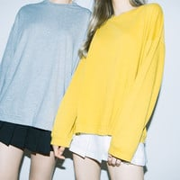 Plain Loose Long Sleeve Top | MIXXMIX