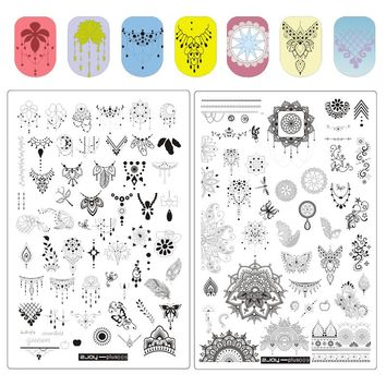 1PC Nail Art Stamping Plates ZJoy Plus Series Spring Garden Stencils For Nails Rectangle Flower Butterfly Nail Stamping Plate