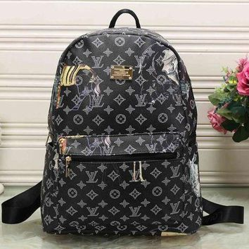 LMOFN1 Perfect LV Louis Vuitton Pattern Leather Travel Bag Backpack