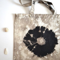 Minimal Tote - Modern Tote - Canvas Tote Bag, Black Orb, Natural, Beige - Eco Friendly, Tie Dye Bag