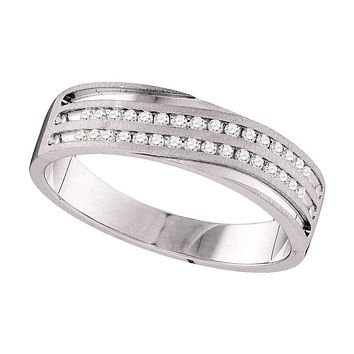 10kt White Gold Men's Round Diamond 2-Row Wedding Anniversary Band Ring 1/4 Cttw - FREE Shipping (US/CAN)