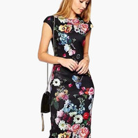 Black Floral Print Cap Sleeve Midi Dress