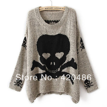 New Fashion Womens Ladies Punk Asymmetric Skull and Christmas deer Batwing Knit Pullover Jumper Loose Sweater Knitw