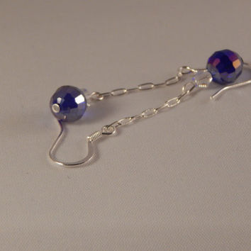 Purple / Blue  fire polished crystal chain dangle earrings - bridal bling -jewelry for wedding party, prom, semi formal, sweet 16 disco ball