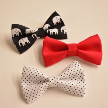 Set of three-hair bows, Small Solid Red Hair Bow ,Plain White and Small Black Polka Dots Hair Bow, Black and White Elephants Hair Bows