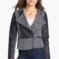 Dollhouse Tweed & Faux Leather Moto Jacket (Juniors) (Online Only) | Nordstrom