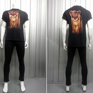 Vintage 1980's Lion Cub Print T Shirt Gothic T Shirt Hipster T Shirt Graphic Print Wildlife Animal Wolves American Clothing Classic Rock
