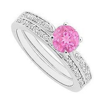 Pink Sapphire and Diamond Engagement Ring with Wedding Band Set : 14K White Gold - 0.60 CT TGW