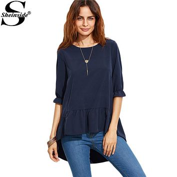 Sheinside Korean Fashion Clothing for Womens Latest Top Designs Navy Ruffle Sleeve High Low Tiered Peasant Top Blouse