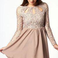 Madison Long Sleeve Cutout Detail Lace Dress