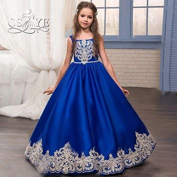 Royal Blue Flower Girl Dress 2017 Kids Prom Dress Puffy A-line Satin Gold Lace Girls Pageant Dress Long Communion Dress for Girl