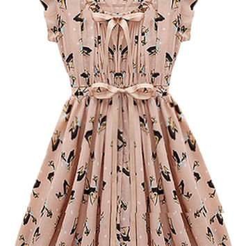 Reindeer Print Sleeveless Mini Skater Dress