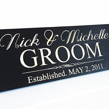 Personalized Wedding Gift Last Name Established Sign Family Name Signs Custom Wood Sign Carved Wood Sign 8x20 .sign#181