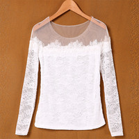 Stylish Lady Women's New Fashion Long Sleeve Slash Neck Sexy Lace Tops Blouse