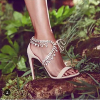 New Arrival Women Sandals Fashion Ladies Shoes Rhinestone High Heels Shoes Woman Pumps Lace Up Sapato Feminino Salto Alto