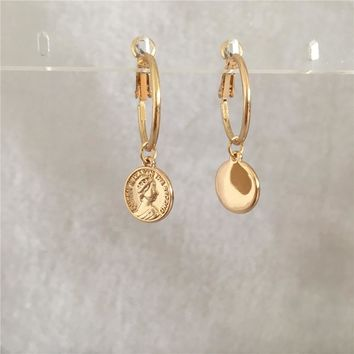 TRENDY GOLD COLOR PLATING COIN CHARM WITH HOOP EARRING FOR WOMAN GIRL