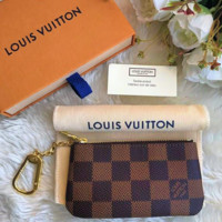 LV tide brand classic simple wild female zipper key case Coffee check