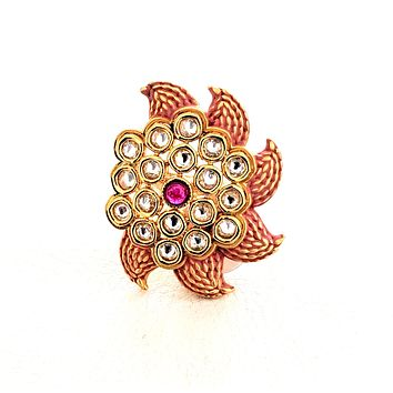 Matte meenakari finish mango designer adjustable Finger ring