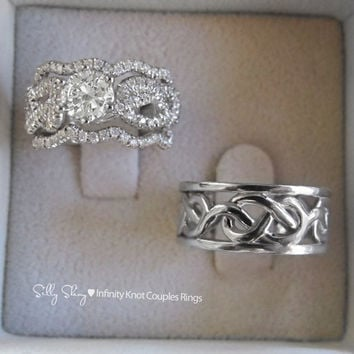 Infinity Wedding Ring Set Couples Knot Bands Engagement With Matching