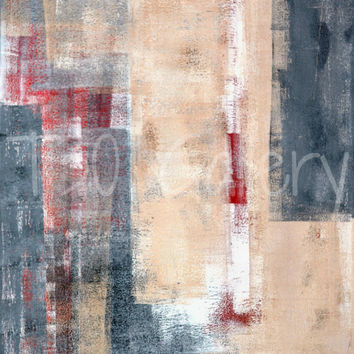 Confidence, red and beige painting