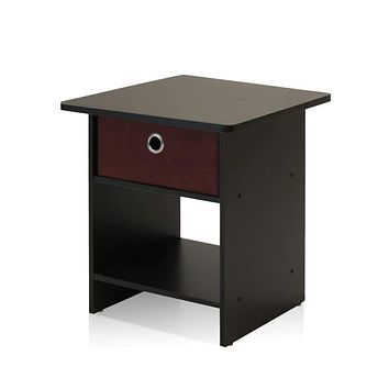 Brown Night Stand Storage Shelf with Bin Drawer