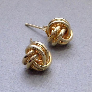 14K Solid Gold LOVE Knot Stud EARRINGS Infinity Earring Studs Post Backs, Extra Push Back, Vintage GENUINE Gold Jewelry for Her c.1980s
