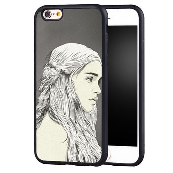 Daenerys Targaryen Game of Throne Printed Cell Phone Cases For iPhone 6 6S Plus 7 7 Plus SE 5 5S 5C 4 4S Soft Rubber Back Cover