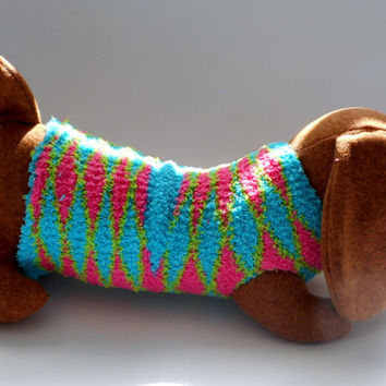 Daschund dog with sweater, decked out daschund, dog plushie, dog,, daschund softie,child's toy, sweetheart gift,