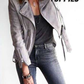 2017 Spring & Autumn Women Suede Gray Jacket Zipper Moto Leather Jacket Women Suede Leather Coat High Street Fashion JT003