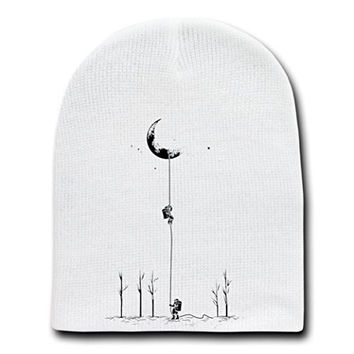 'Reach For The Moon' Astronauts Climbing Rope Into Space - White Beanie Skull Cap Hat