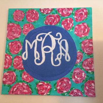 Circle Monogram Canvas on Lilly Pulitzer background 16x20