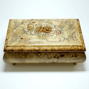 Music Box, Made in Italy, Wood Inlay Marquetry, Hand Crafted, Plays Torna A Surriento, Floral Design, Footed Italian