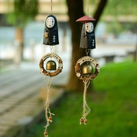 Studio Ghibli NO FACE Faceless Man Windbell Wind Chime Metal Bell Kids PVC Action Figure Resin Collection Model Toy Doll Gifts