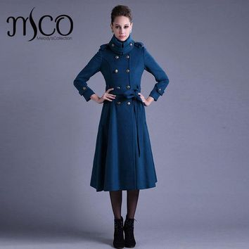 Designer Double Breasted A Line Midi Blue Trench Coat