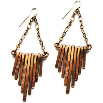 cascading copper bar earrings - handmade - fringe earrings - hammered surface texture
