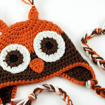 Woodland Owl Crochet Baby Hat // Brown & Orange // 0 to 3 Months // Fall Owl Beanie with Earflaps // Photo Prop