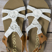 Worth It Cream Crochet Cork Sandals