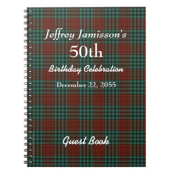 50th Birthday Party Guest Book Red & Green Plaid