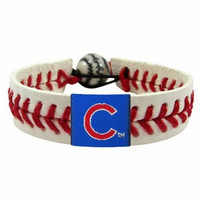 Chicago Cubs Classic MLB Gamewear Leather Baseball Bracelet
