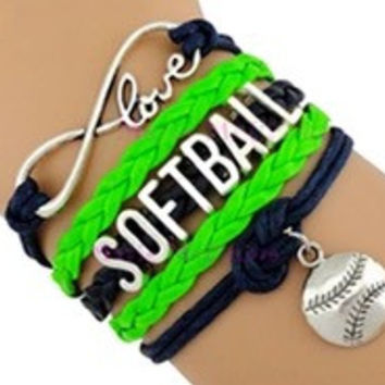 Softball Bracelet - Neon Green/Navy