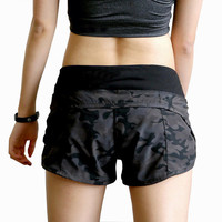 VEQKING Camouflage Sport Shorts Ladies Black Large Size Summer Gym Fitness High Waisted Short Femme Athletic Shorts