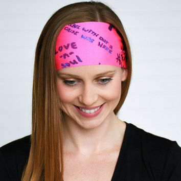 Hot pink yoga headband, Workout headband, Running headband, Womens wide boho headband, Fitness headband, Ladies stretch fabric headband