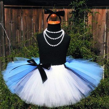 Birthday Tutu - Blue Tutu - Sewn Blue Black and White Tutu w/ Apron Look - Ready To Ship - Alice in Wonderland - sizes up to 5T - Photo Prop