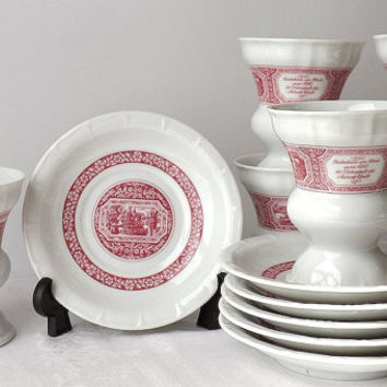 Set of 6 Heinrich Irish Coffee Cups and Saucers, German Red Transferware, Rudesheim am Rhein