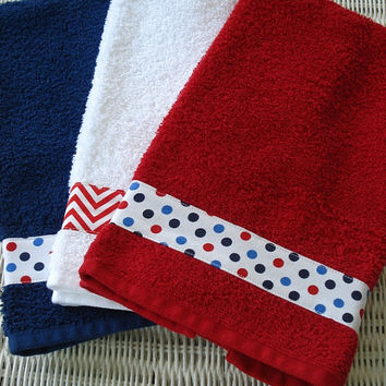 Hand Towels Patriotic July Fourth Chevron Dots Red White Blue