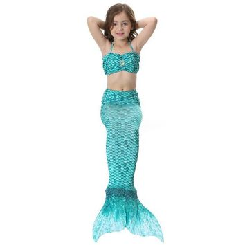 DCCKH6B Children Girl Adult Women Mermaid Tail Swimsuit with Monopalme Swimming Tail Swimwear Cosplay Costume