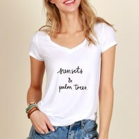 The Beach Tee Print Top White