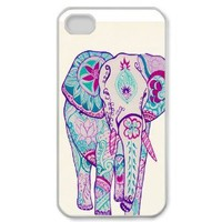niceEshop Colorful Scrawl Cute Elephant Hard Back Case Cover for iPhone4 4G 4S +Screen Protector