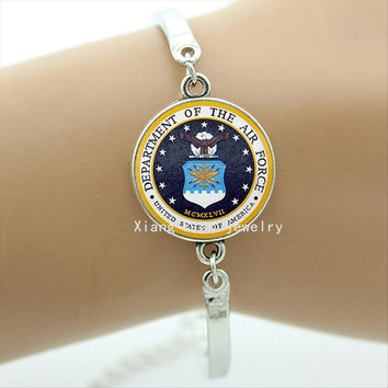 United states of America Air Force Bracelet Fine Jewelry Glass Military Bracelet Unisex